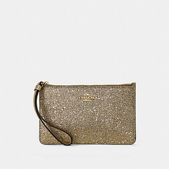 Coach Gold Sparkly Large Wristlet